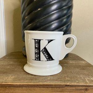 Anthropologie Monogram K Stoneware Mug